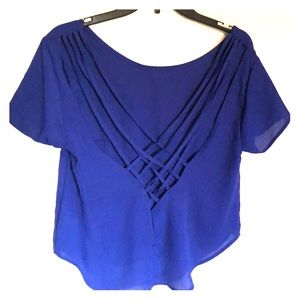 Blue Backless Strappy Blouse